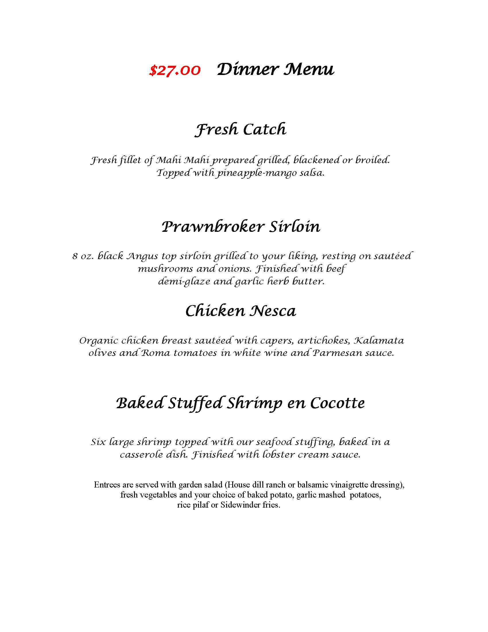 Banquet Dinner Menu | Prawnbroker Grill | Stuart Restaurants